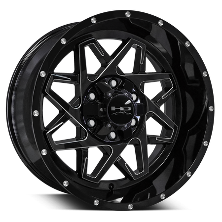 HD Off-Road Hook Gloss Black w Milled Spoke Edge