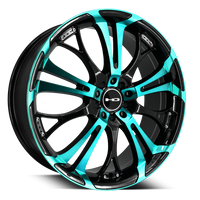 HD Wheels Spinout Teal Machined w Black