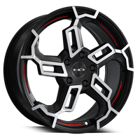 HD Wheels Switch Satin Black Machined Face Redlines