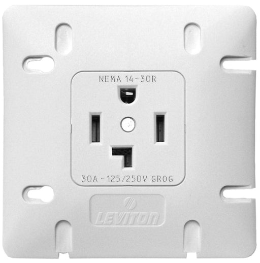 Leviton 30 Amp Dryer Receptacle, Flush mounted, 4 wire with grounding Industrial spec grade. SKU#: 1278-W30 UPC: 078477695494 07847798381