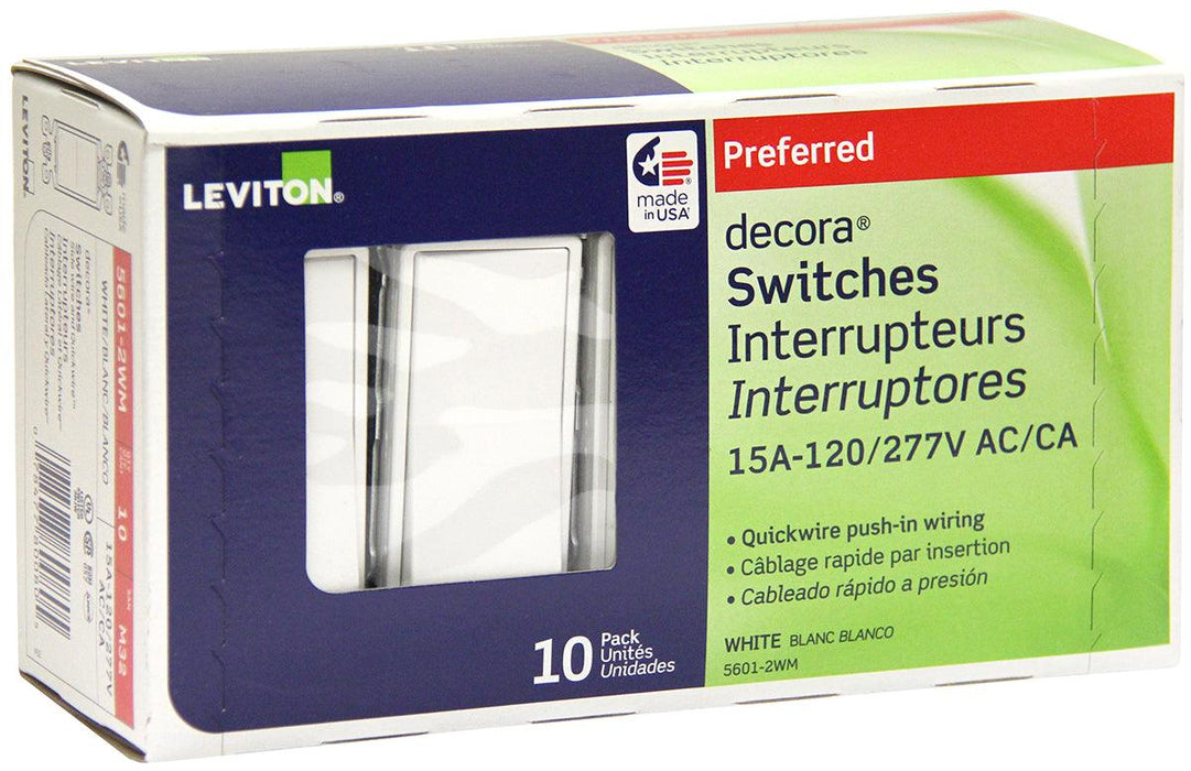 Pack of Ten Decora Rocker Light Switches. These light switches from Leviton are made from thermoplastic to ensure it's longevity, its smooth white finish shields against dust, making it easy to clean. Decora Rocker Switches feature quick-wire push-in for a quick and easy installation. SKU#: SKU#: 5601-2W 05601M32 UPC: 078477800805