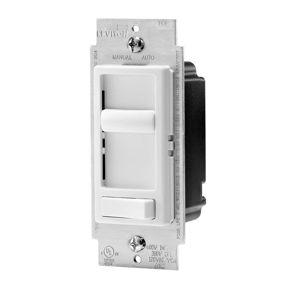 The Leviton Decora SureSlide dimmer with Preset switch allows you to easily modify the brightness of your Incandescent, and dimmable LED and CFL lights with the touch of a finger. It's on/off switch allows you to retain your preferred dimming settings, while providing you with a simple and easy way to enhance the atmosphere in your home. SKU#: 6674-P0W UPC: 078477590249  078477575086