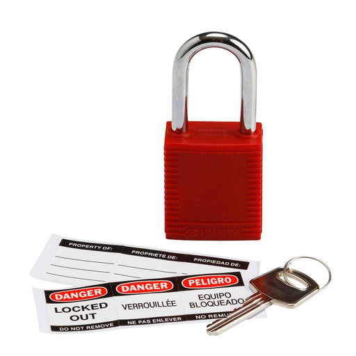 The Red Nylon Padlock from Brady has a non-conductive fiberglass reinforced nylon body and unique key cylinders that prevent electricity from travelling from the shackle to the key. These padlocks can be used for everyday applications as well as industrial applications. SKU#: 103533 UPC: 754473175184