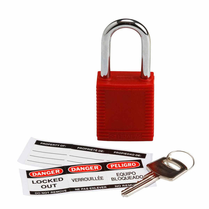 Brady Nylon Padlock has a non-conductive fiberglass reinforced nylon body and unique key cylinders that prevent electricity from traveling from the shackle to the key. These padlocks can be used for everyday applications as well as industrial applications. SKU: BRY103533  UPC: 754473175184