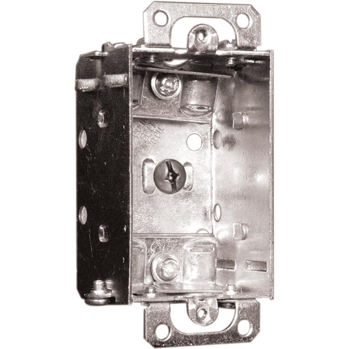 "Device Box 2X3X1.5""  - Metal Device Boxes are used for outlets, switches, ceiling fixtures, and small junction boxes. They keep wires dry and are popular for surface mounted applications. SKU#: 1100LUBAR UPC: 626463020685"