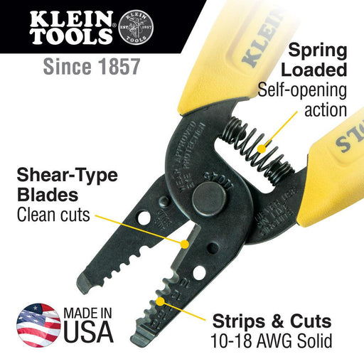 This compact, lightweight wire-stripping, and cutting tool is designed to cut 10 - 18 AWG solid wire. The precision-ground stripping holes cleanly cut wire and aid in easy removal of insulation. SKU:  KLE11045 UPC: 092644740459