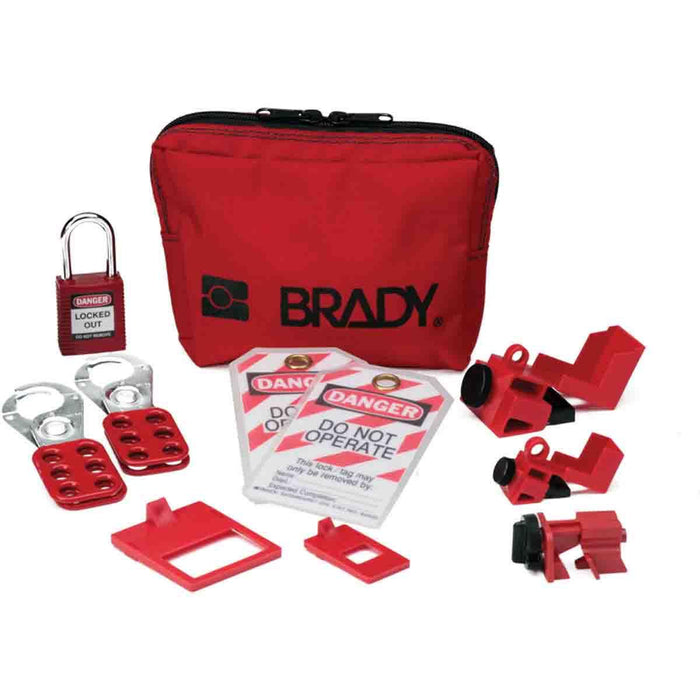 Brady's Lockout Kit gives you the critical lockout devices and tools you need to create a safe and effective program. It allows you to isolate mechanical and electrical control points. The kit includes the devices and tools that are required by every electrician for a safe electrical lockout application. The kit is available in a compact easy-to-carry pouch. SKU: BRY120886  UPC: 754473701406