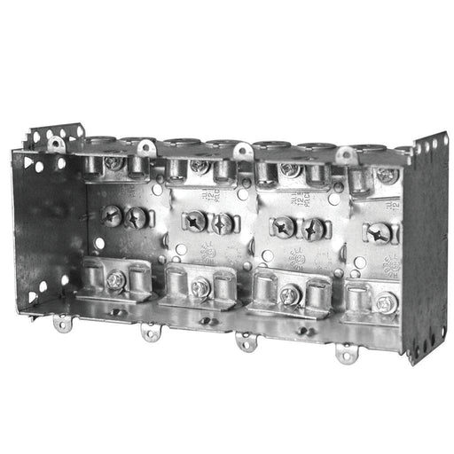 "Device Box 8X3X2.5"" Four Gang - Multi-Gang Device Boxes are used for outlets, switches, ceiling fixtures, and small junction boxes. They keep wires dry and are popular for surface mounted applications. SKU#: 2104LLEU4BAR UPC: 626463021088"