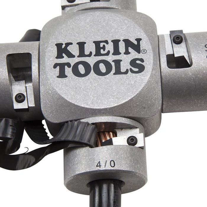 Klein Tools' Large Cable Stripper safely removes the insulation on MTW, THHN, and THWN-2 cable without nicking the wire. SKU: KLE21051  UPC:  092644741517