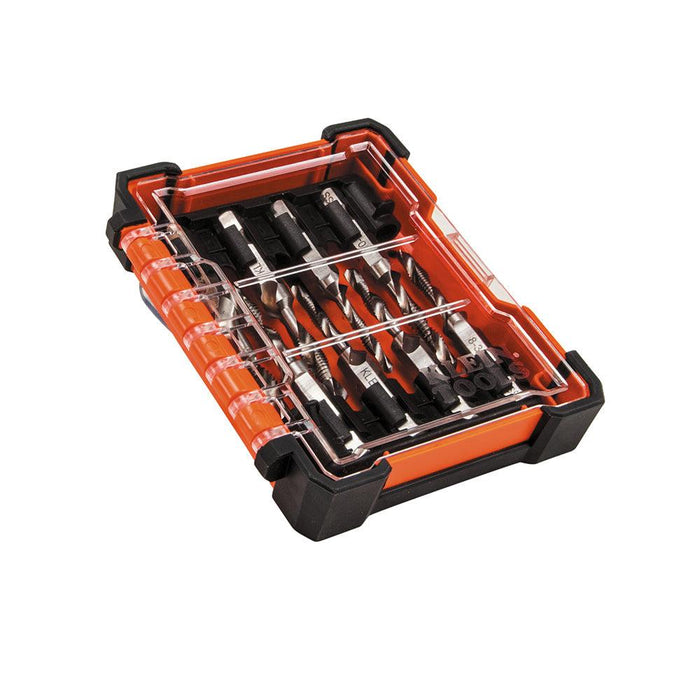 This convenient kit comes with 8 commonly used tap tools. For aluminum, brass, copper, plastic and mild steel. Compatible with the quick connect in power tools. SKU:  KLE32217 UPC: 092644322174
