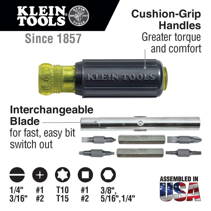 The Klein 11-in-1 multi-purpose screwdriver/ nut driver tool has everything a professional needs. The integrated screwdriver/nut driver shaft holds 8 popular tips and converts to 3 nut driver sizes. With its versatility, this multi-purpose screwdriver/nut driver is the perfect tool to meet your needs on the job. SKU: KLE32500 UPC: 092644325007