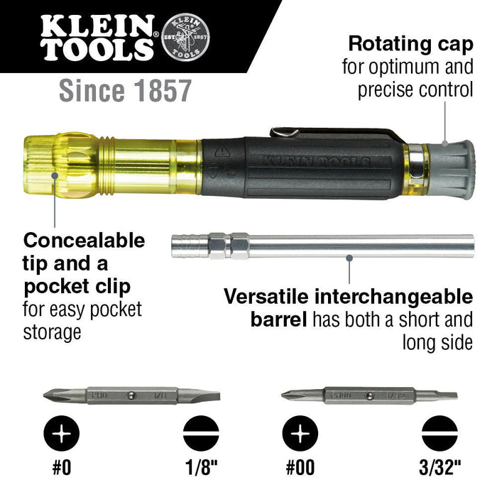 This 4-in-1 Electronics Pocket Screwdriver driver is designed for precision work. It features a swivel cap for optimum control, outstanding comfort with our exclusive cushion-grip handle, and precision milled tips to fit screw openings securely.  SKU: KLE32614 UPC: 092644326141