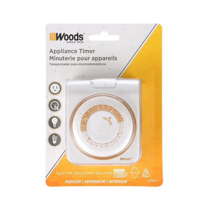 Woods Indoor 24-Hr Heavy Duty Mechanical Timer, Model 50001WD