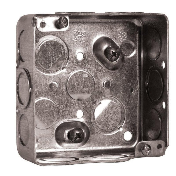 "4X4X1.5"" Square Box - Boxes are installed in ceiling or wall junctions. Square boxes are used where multiple conductor runs are split into two or more directions to bring power to a number of electrical devices. SKU: HUB52151KBAR  UPC: 626463001837"