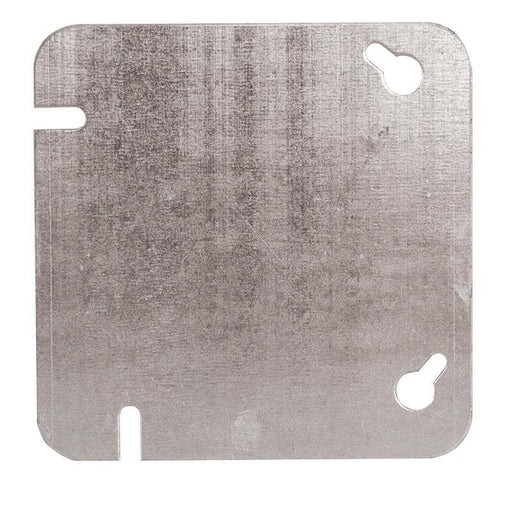 Utility Covers are used to close convenience outlets.  4 inch Flat Blank Square Cover, Rugged metallic construction. SKU#: 52C1BAR UPC: 626463000168