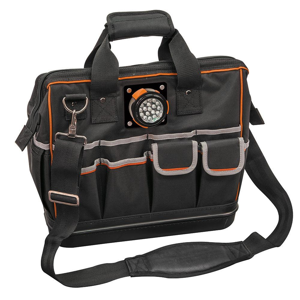 The Klein Tools Tradesman Pro Organizer Lighted Tool Bag features a removable LED light that can be positioned to shine inside or away from the bag.  Thirty-one pockets provide maximum tool storage.  SKU: KLE55431  UPC: 092644554315