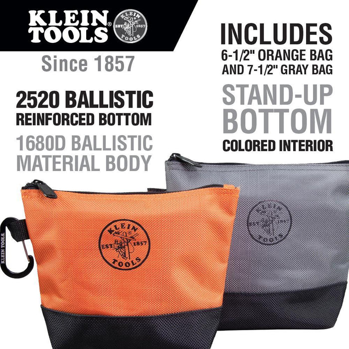 Klein Tools' new Stand-Up Zipper Bags will keep your pieces and parts organized. The body of this tough pair is made of coated 1680d ballistic material while the bottoms are reinforced with 2520d ballistic material preventing tools and parts from poking through. SKU: KLE55470  UPC: 092644554704