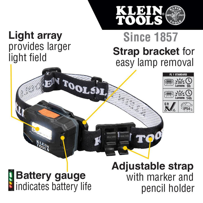 Klein Tools Rechargeable Light Array Headlamp w/ Strap, 260 Lumen, All-Day Runtime, Model 56049