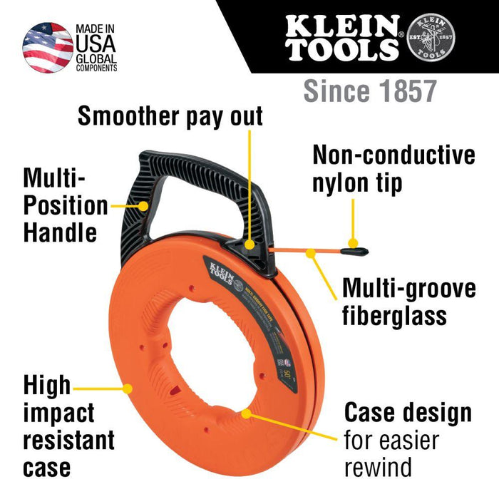 Klein Tools Multi-Groove Fiberglass Fish Tape with Nylon Tip, 50-Foot, Model 56382*