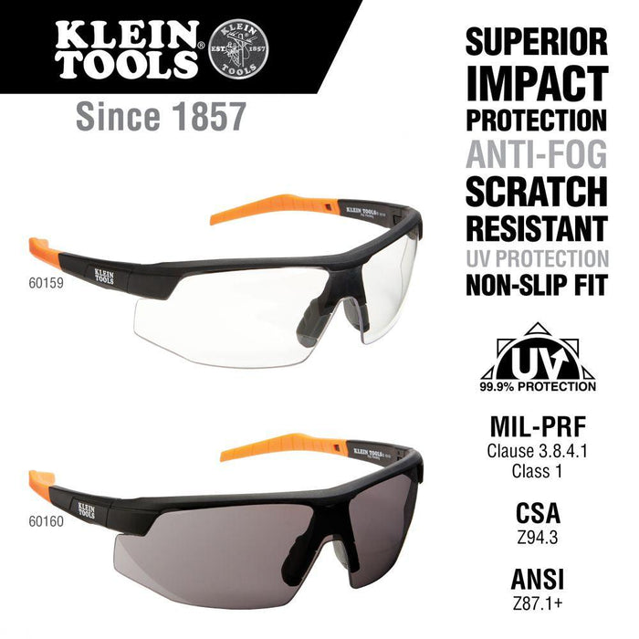Klein Tools Standard Safety Glasses, Semi-frame, Narrow Clear Lens, Model 60159