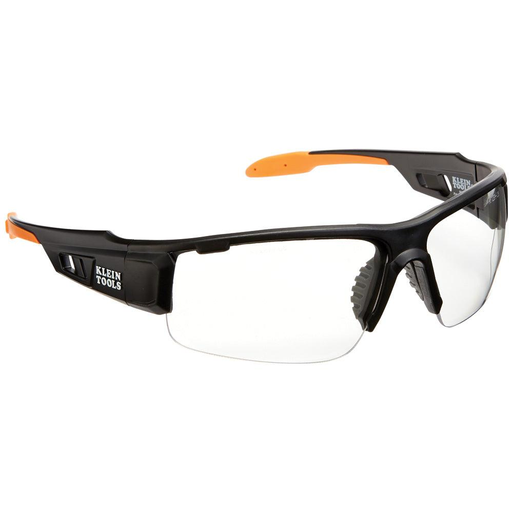Professional Safety Glasses, Grey Semi-frame, Wide Clear Lens (Pack of 2)