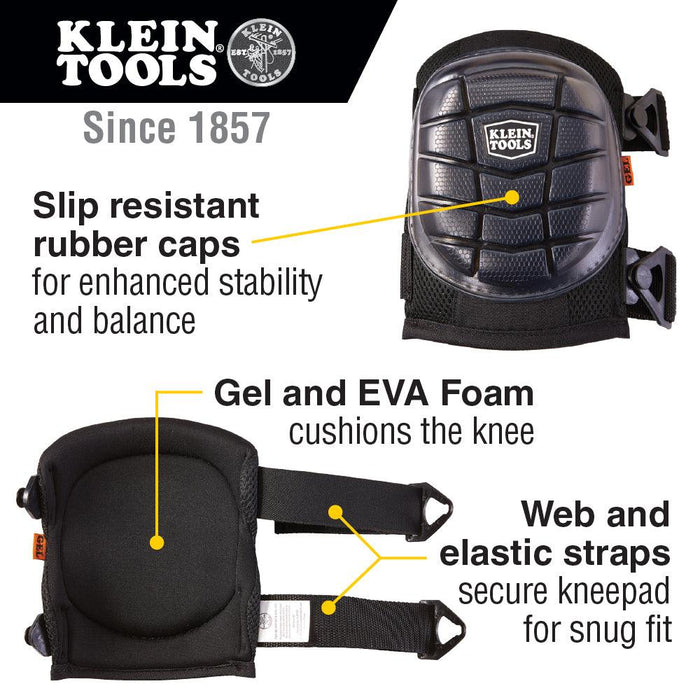 Lightweight Gel Kneepads have slip-resistant rubber caps to grip kneeling surface for enhanced stability and balance while Gel and EVA foam cushions the knee to help disperse pressure while kneeling and reducing wearer fatigue. UPC: 092644601842  SKU: KLE60184