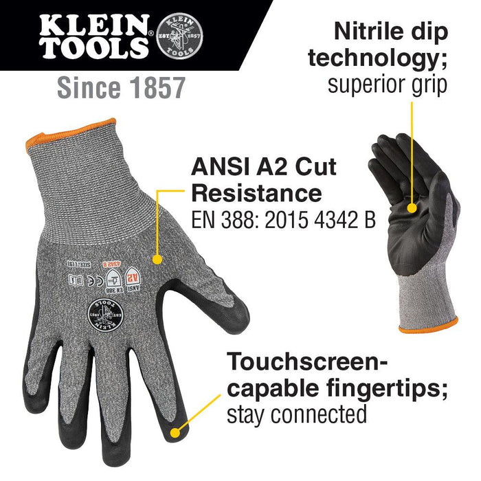 Klein Tools Large Cut 2 Touchscreen Leather Gloves (2 Pairs) Model 60185