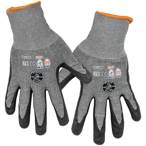 Protect your hands on the job with Cut 2 Work Gloves made to keep you connected and protected with touchscreen-capable fingertips. Nitrile dip technology provides superior grip. ANSI rated for A2 Cut Resistance. SKU: KLE60185 KLE60197