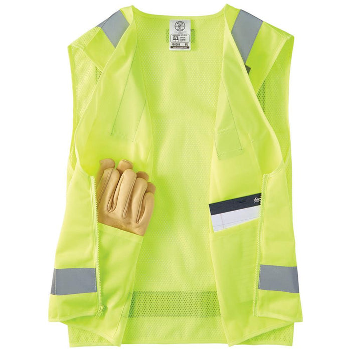 High-Visibility Safety Vest Retroreflective material enhances visibility. Mesh fabric on back provides breathability. This vest has a zippered front with interior and exterior pockets.  SKU: KLE60268 KLE60269 UPC: 092644602689  UPC: 092644602696 Safety Apparel, Greater visibility, Safety Vest meets ANSI/ISEA 107-2015, Type R, Class 2 requirement, Klein Tools, Hi Viz clothing, safety standards, alert