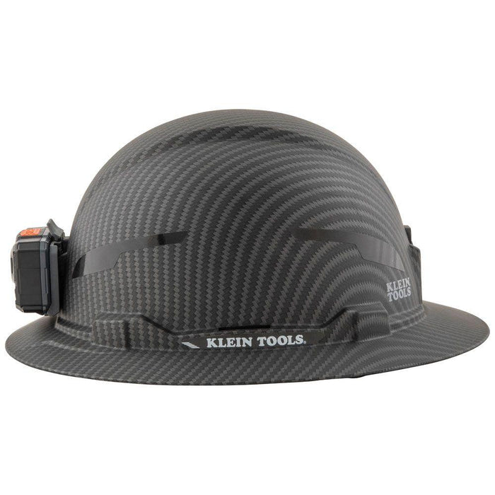 Klein Tools Hard Hat, Premium KARBN, Non-Vented Full Brim, Class E with Headlamp, Model 60346