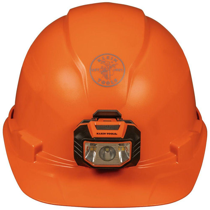 Klein Tools Hard Hat, Non-Vented, Cap Style with Headlamp, Orange, Model 60900*