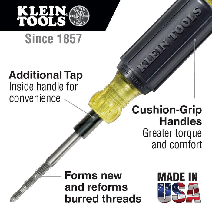 Kleins 6-in-1 Tapping Tool forms new threads, re-forms burred or damaged threads, and cleans out obstructions. SKU: KLE626 UPC: 092644626203