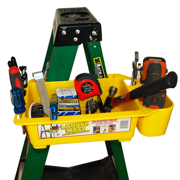 The Ladder Mate saves you time and energy by storing your tools and material. No more going up and down your ladder - have all your tools and accessories close by. Rack-a-tiers, Multi-use Ladder Organizer, Paint Try, Tool Holder SKU: RAC65300 UPC: 625912635005