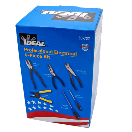 "Kit Includes Pliers with dipped-grip handles: 9-1/2"" Linesman (30-430) 8"" Diagonal Cutting (35-029) 8-1/2"" Long-Nose (35-038) Cushion-Gripped Screwdrivers: 1/4"" Heavy-Duty Cabinet (35-150) #2 Phillips (35-194) Wire Stripper: T®-Stripper Wire Stripper (45-120) PLUS BONUS! Robertson #2 Screwdriver (35-925) SKU: IDE30727CDN UPC: 624141035105"