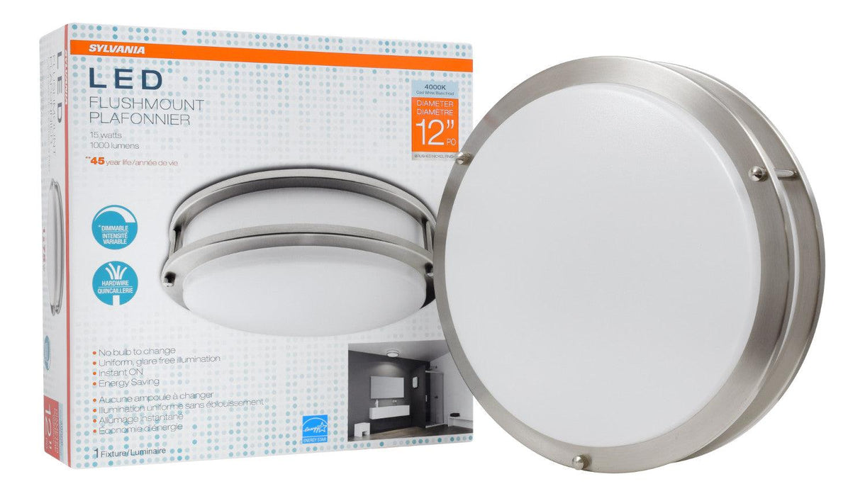 "The Sylvania 12"" LED round flush mount 15W, 4000K luminaire is a perfect fit for residential, hospitality, and commercial spaces. It has an application for illuminating hallways, offices, bedrooms, living rooms, and other general lighting. This Energy Star qualified fixture provide 1000 lumens of light. SKU: SYELEDFLUSHRND12I$12  UPC: 046135714061"