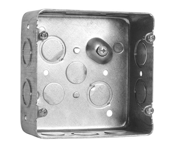 "Square Box 4.688X2.125"" - Square boxes are use where multiple conductor runs split into two or more directions, bringing power to a number of electrical devices. They provide protection and a safety barrier for electrical connections. SKU: HUB72171KBAR UPC: 626463002308"