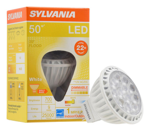 Sylvania 9W Ultra LED MR16 lamp is a true halogen equivalent lamp when its lumen output and center beam candlepower are compared. It lasts for long and energy efficient. This lamp is free of UV and IR radiation, minimizing discoloration and fading of materials. SKU: SYELED9MR16DIM830FL  UPC: 046135740428