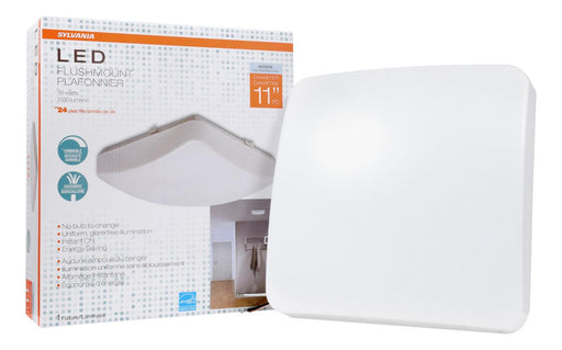 "The Sylvania 11"" LED square flush mount luminaire is a perfect fit for residential, hospitality, and commercial spaces. It has an application for illuminating hallways, offices, bedrooms, living rooms, and other general lighting. This Energy Star qualified fixture provide 1200 lumens of light. SKU: SYELEDFLUSHSQ11IN$11  UPC: 046135743047"