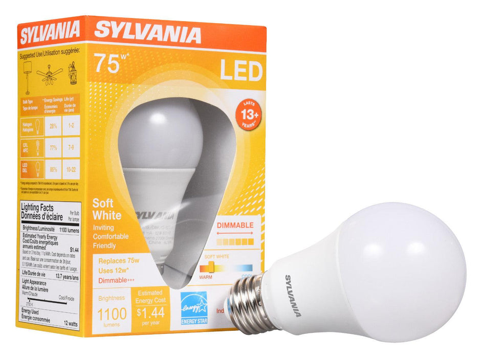 Sylvania Ultra 12w, 2700k LED A19 omnidirectional lamp offers years of service and reduces energy and maintenance costs. This lamp is environmentally preferred products. This is RoHS compliant and contains no mercury, lead or other hazardous materials. SKU: SYELED12A19DIMO827U  UPC: 046135746857