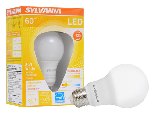Sylvania Ultra LED A19, 9W, 2700K omnidirectional lamp offers years of service and reduces energy and maintenance costs. This lamp is environmentally preferred products. This is RoHS compliant and contains no mercury, lead or other hazardous materials. SKU: SYELED9A19DIMO827U,  UPC: 046135746871