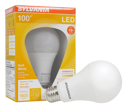 Save energy with Sylvania Ultra 16W LED A21 lamp that produces a soft white light (2700K), offers years of service, and reduces maintenance costs. This lamp is environmentally preferred products. It is RoHS compliant and contains no mercury, lead or other hazardous materials.  SKU: SYELED16A21DIMO827U  UPC: 046135746895