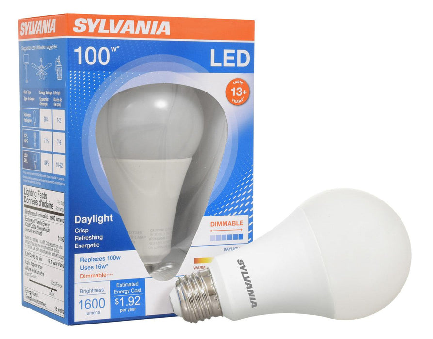 Save energy with Sylvania Ultra LED 16W A21 lamp that produces a soft white light (5000K), offers years of service, and reduces maintenance costs. This lamp is environmentally preferred products. It is RoHS compliant and contains no mercury, lead or other hazardous materials. SKU: SYELED16A21DIMO850UB  UPC: 046135746918