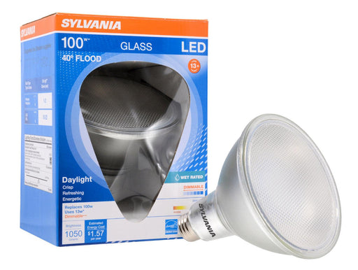 Sylvania Ultra LED Glass PAR38, 13W, 5000K dimmable lamp is ideal for recessed downlights, track lighting, wall wash and general lighting applications in hospitality, office, property management, residential, restaurant, retail and school environments. SKU: SYELED13PAR38DIM850F  UPC: 046135749483