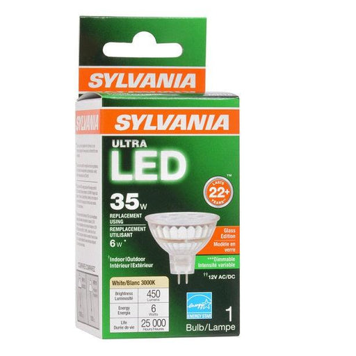 The pleasing design of Sylvania Ultra LED Glass MR16 (6W, 3000K) lamps make halogen retrofits easier to spot re-lamp to a more energy efficient lamp. Replacements for 20 and 35 watt halogen lamps providing more energy savings and longer life up to 25,000 hours (L70). These lamps can be used in many applications like general lighting, recessed downlights, track lighting, wall washer etc. SKU: SYELED6MR16DIM830FL3  UPC: 046135782398