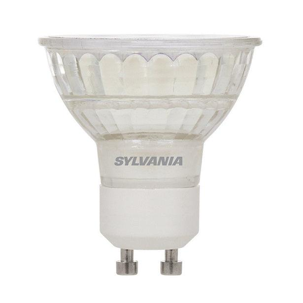 Sylvania Ultra LED Glass 6w, 3000K PAR16 lamp lasts longer. It is a high quality replacement for 50W halogen PAR16 lamps. It is free of UV and IR radiation, minimizing discoloration and fading of materials. The energy and maintenance  LED lamps will reduce energy and maintenance cost when compared with conventional halogen light sources. It has application as recessed downlight, track light and wall washers. SKU: SYELED6PAR16GU10DIM$  UPC: 046135782886