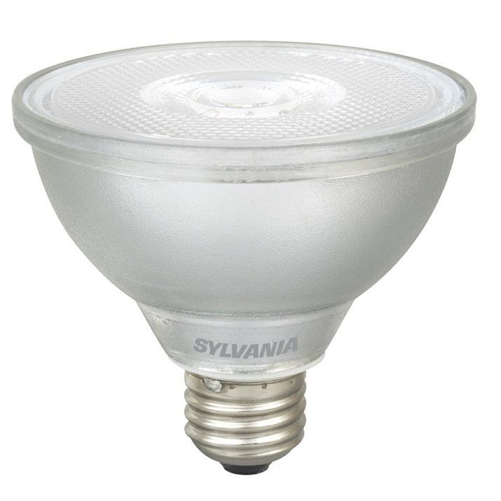 Sylvania 10W Ultra LED Glass PAR30 Lamp has a glass body with full optics just like halogen PAR lamps. It has been rated for use in enclosed fixtures and is ideal for recessed downlights, track lighting, wall wash and general lighting applications in hospitality, office, property management, residential, restaurant, retails, and school environments. SKU: SYELED10PAR30DIM830$  UPC: 046135797842