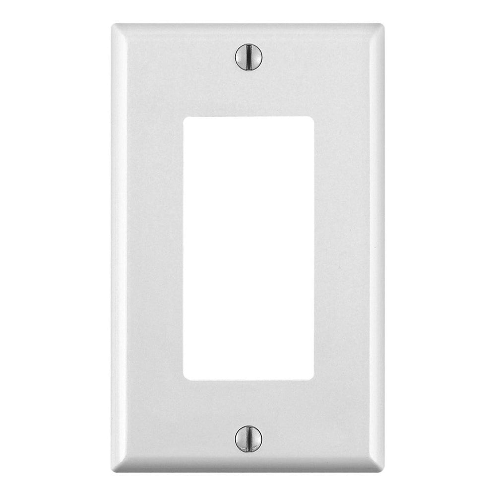 Leviton 1 Gang Decora/ GFCI device Wallplates give a simple clean aesthetic look; with rounded edges and a smooth finish making it dust resistant. These wall plates easily blend in with any decor, are easy to install and economically priced. UPC: 078477608890