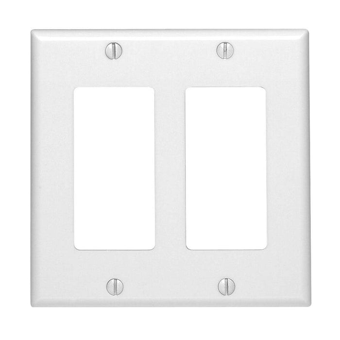 Leviton 2 Gang Decora/ GFCI device Wallplates offer a simple clean aesthetic look; with rounded edges and a smooth finish making it dust resistant. These wall plates easily blend in with any decor, are easy to install and economically priced. Model# 80409742 UPC: 068679164874