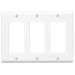 Leviton 3 Gang Decora/ GFCI device Wallplates offer a simple clean aesthetic look; with rounded edges and a smooth finish making it dust resistant. These wall plates easily blend in with any decor, are easy to install and economically priced. Model: 80411 UPC 078477488669 078477617007