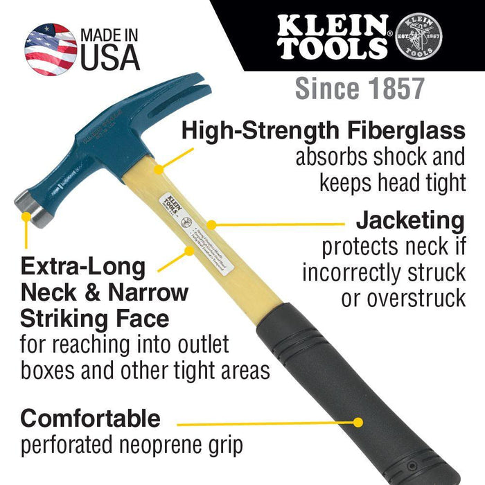 Klein Tools Electrician's Straight-Claw Hammer, Model 807-18*